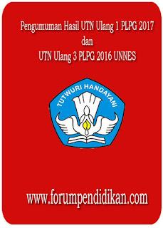 Pengumuman Hasil UTN Ulang 1 PLPG 2017, UTN Ulang 3 PLPG 2016 UNNES