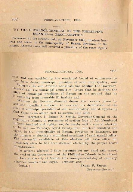 1908 proclamation setting special election in Bauan, English version.
