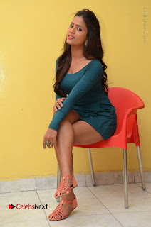 Telugu Actress Prasanthi Stills in Green Short Dress at Swachh Hyderabad Cricket Press Meet  0081.JPG