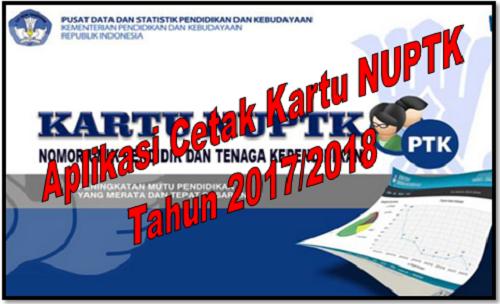 Aplikasi Cetak Kartu NUPTK Tahun 2017/2018