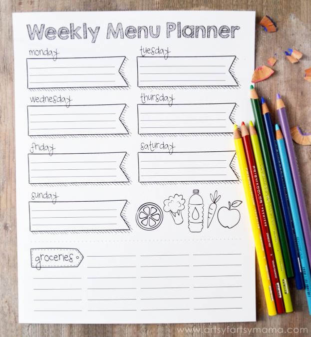 Free Printable Coloring Weekly Menu Planner artsy-fartsy mama