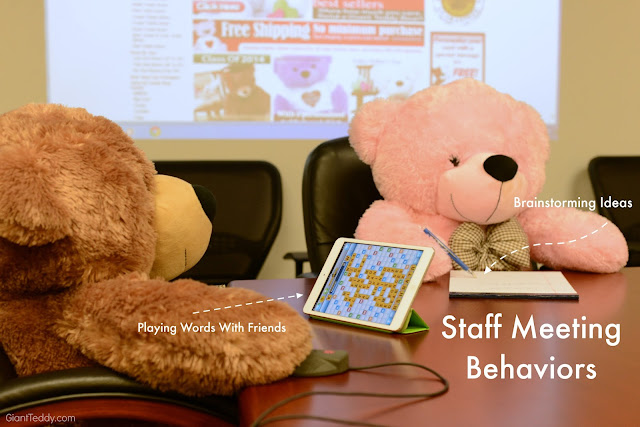 Giant Teddy Bear staff meetings are always interesting