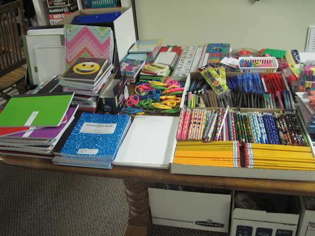 School supplies for OCC shoebox packing party.