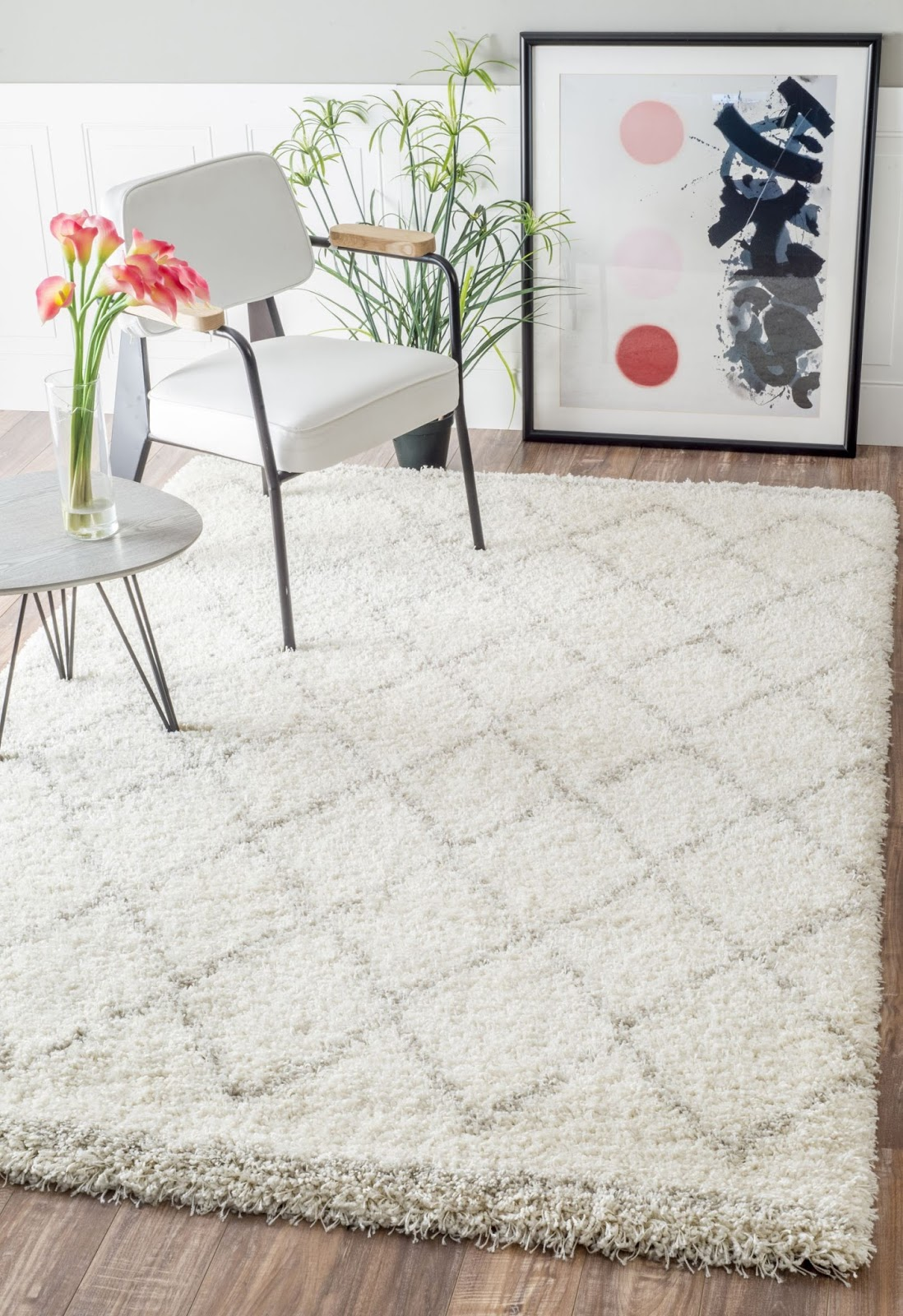 white flokati rug with chevrons