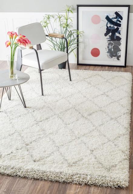 white flokati rug with chevrons