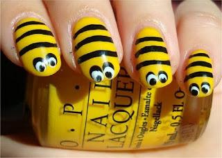 Yellow And Black Acrylic Nail Art