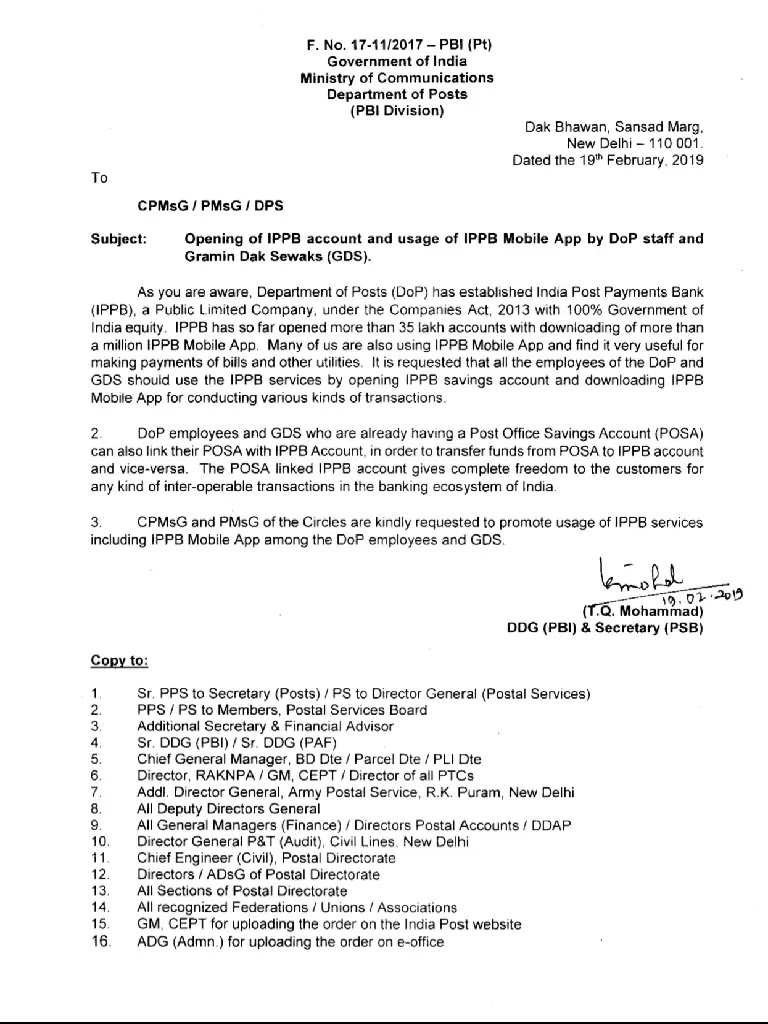 opening-of-ippb-account-and-usage-of-ippb-mobile-app-by-dop-staff-and-gds