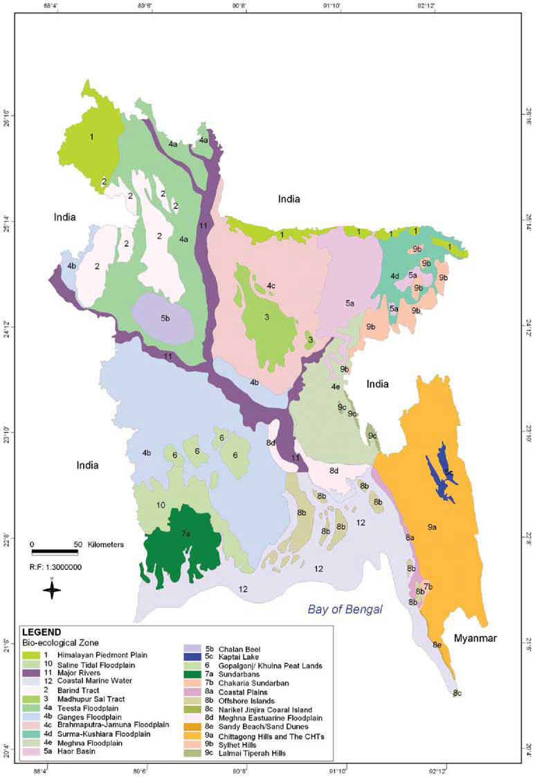 Bio-Ecological Zones Map Bangladesh