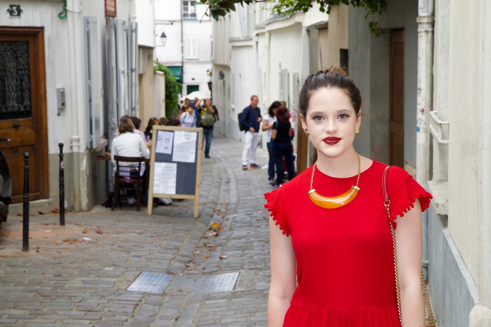Fashion blogger Kathleen Harper on Montmartre in Paris France