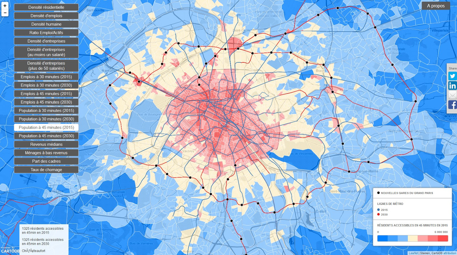 Density & accessibility of the Grand Paris (2015 - 2030)