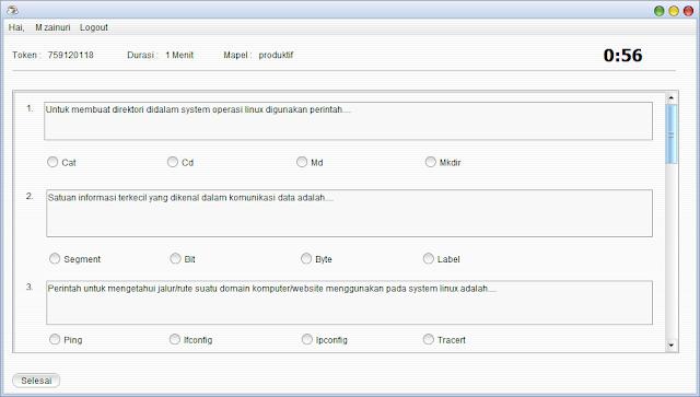 Gratis Aplikasi Quiz/Ujian Dengan Java Netbeans