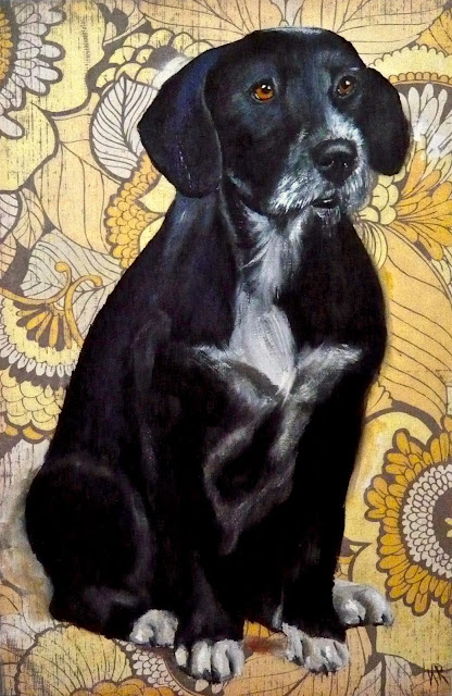 Black dog, yellow wallpaper, an oil painting