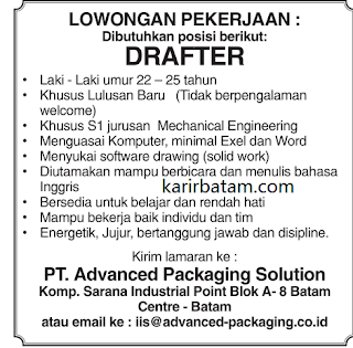 Lowongan Kerja PT. Advanced Packaging Solution