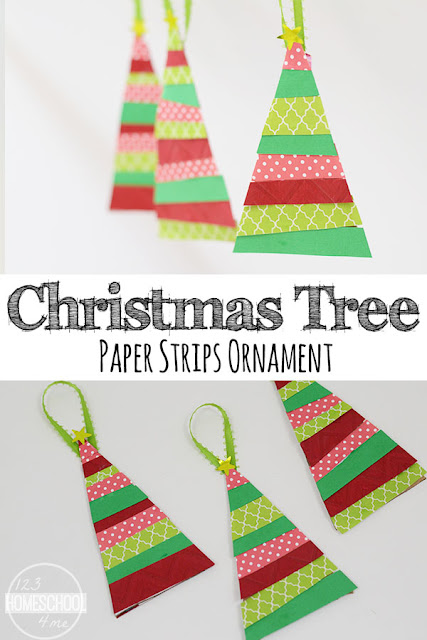 Paper Strips Christmas Tree Ornament Craft - this super cute Christmas Tree Crafts for kids - preschool, for toddlers, kindergarten. Its an easy DIY ornament craft kids can make themselves, give to others, or as a fun Christmas activities for kids
