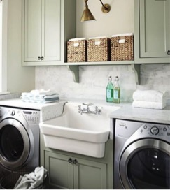green cabinets laundry room