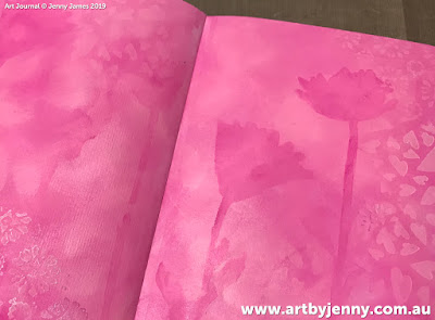 beginning of the art journal page by Jenny James - golden hearts with pink and purple