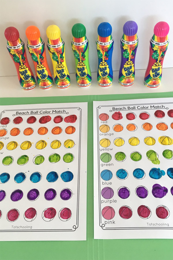 FREE printable Beach Ball worksheets for kids to learn colors, colors words and color mixing with a fun Summer theme! Great for preschoolers and toddlers who love to use do-a-dot markers and playdough!