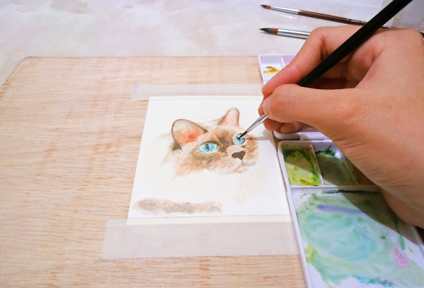tarjeta gato pintado con acuarelas facil