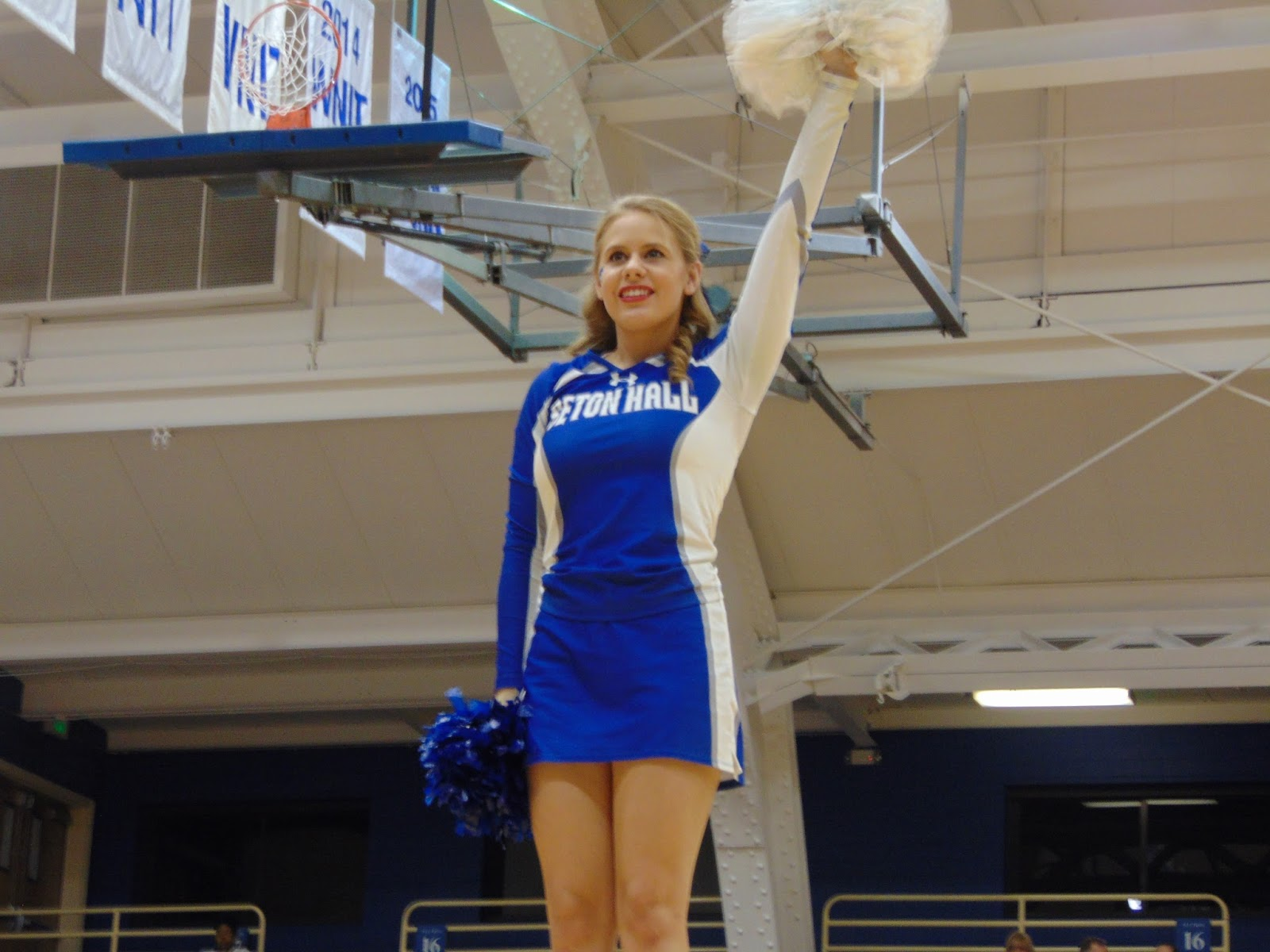 a daly dose of hoops  seton hall cheerleaders getting the crowd going