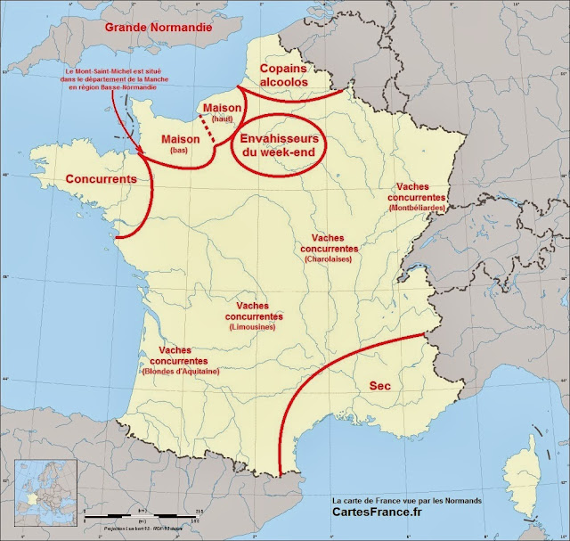 Carte de France vue par les Normands