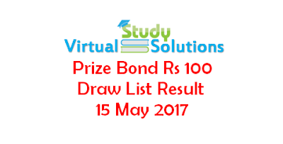 Prize Bond Rs 100 Draw List Result 15 May 2017