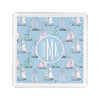 Personalized Acrylic Tray for Mother's Day - Cute Sailboat Pattern | Monogram Acrylic Tray