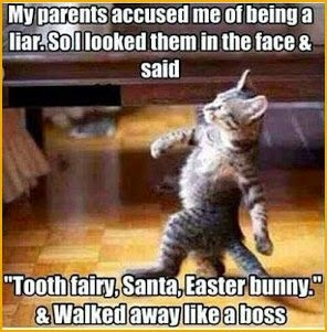 kitten caught parents lying about santa - easter bunny- funny strutting cat image