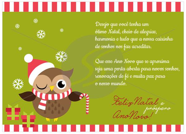 cartao de natal verde coruja - Cartão de Natal uma tradição duradoura