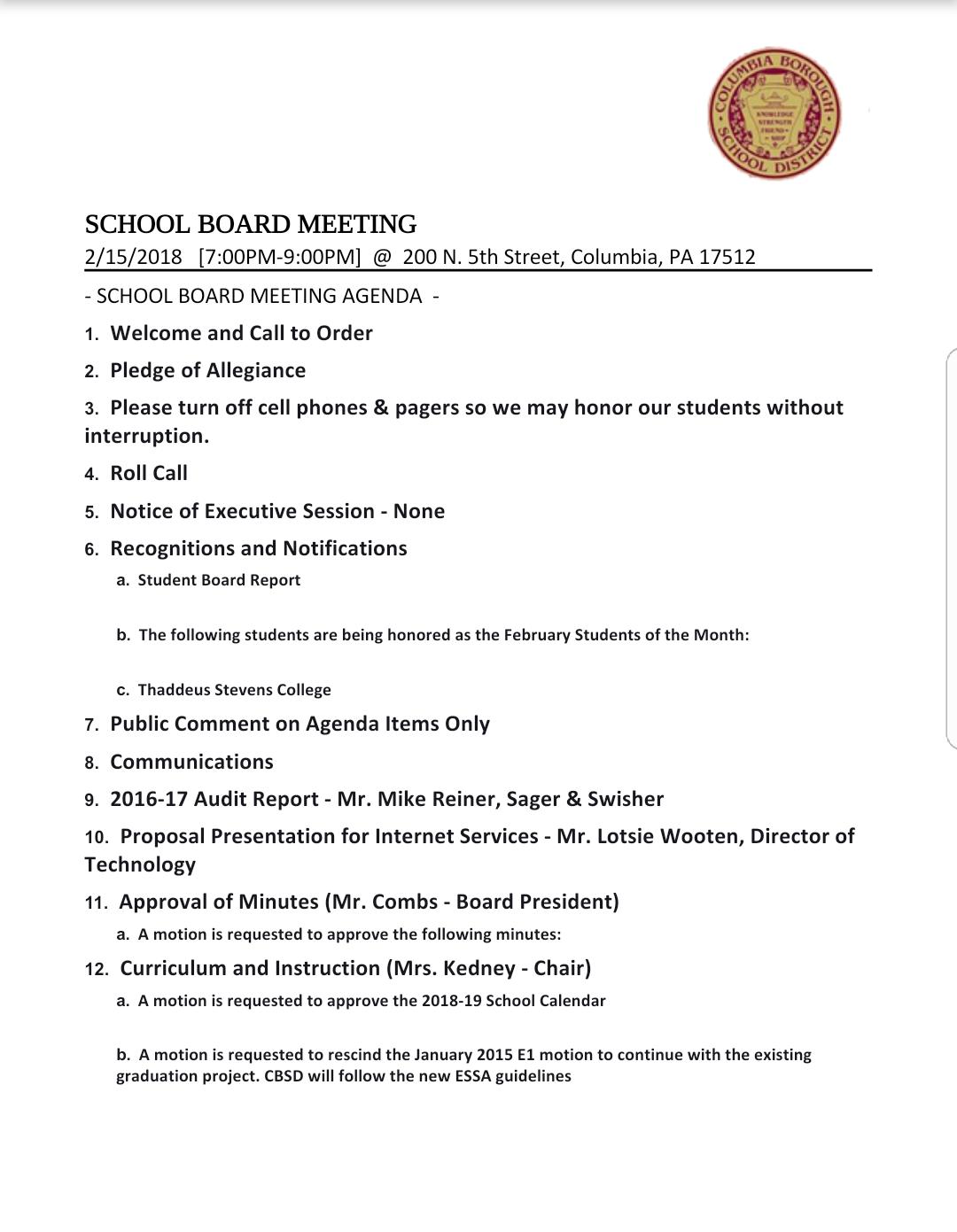 COLUMBIA SPY: Draft Agenda - School Board Meeting Feb. 15, 2018