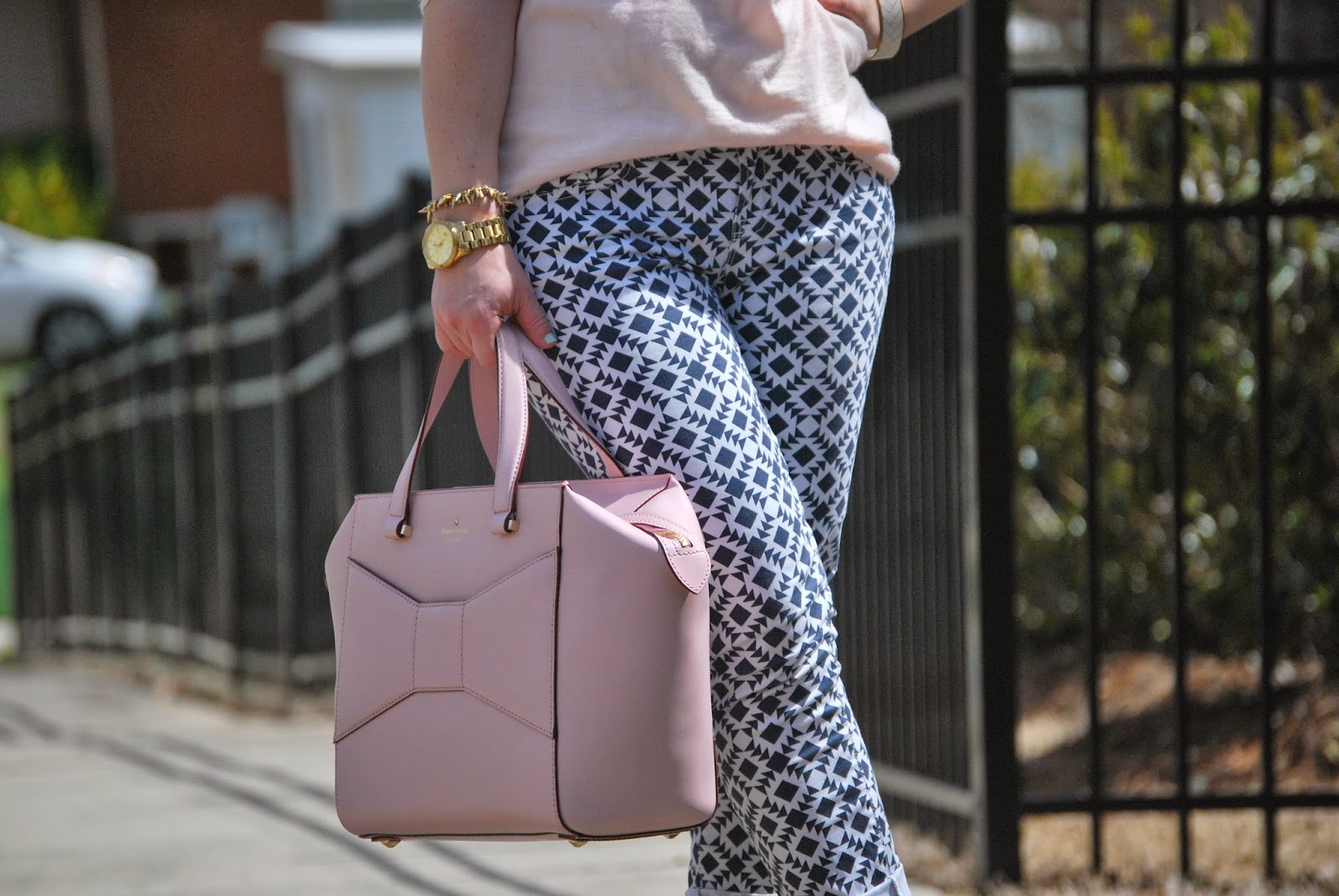 JCrew, Merino Mesh Sleeve Sweater, Kate Spade, Beau Bag, Valentino Rock Studs