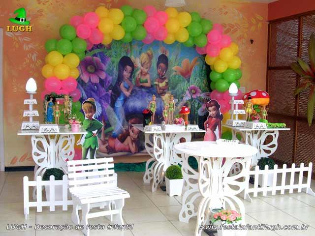Mesa decorada para festa de aniversário tema Tinker Bell - Sininho