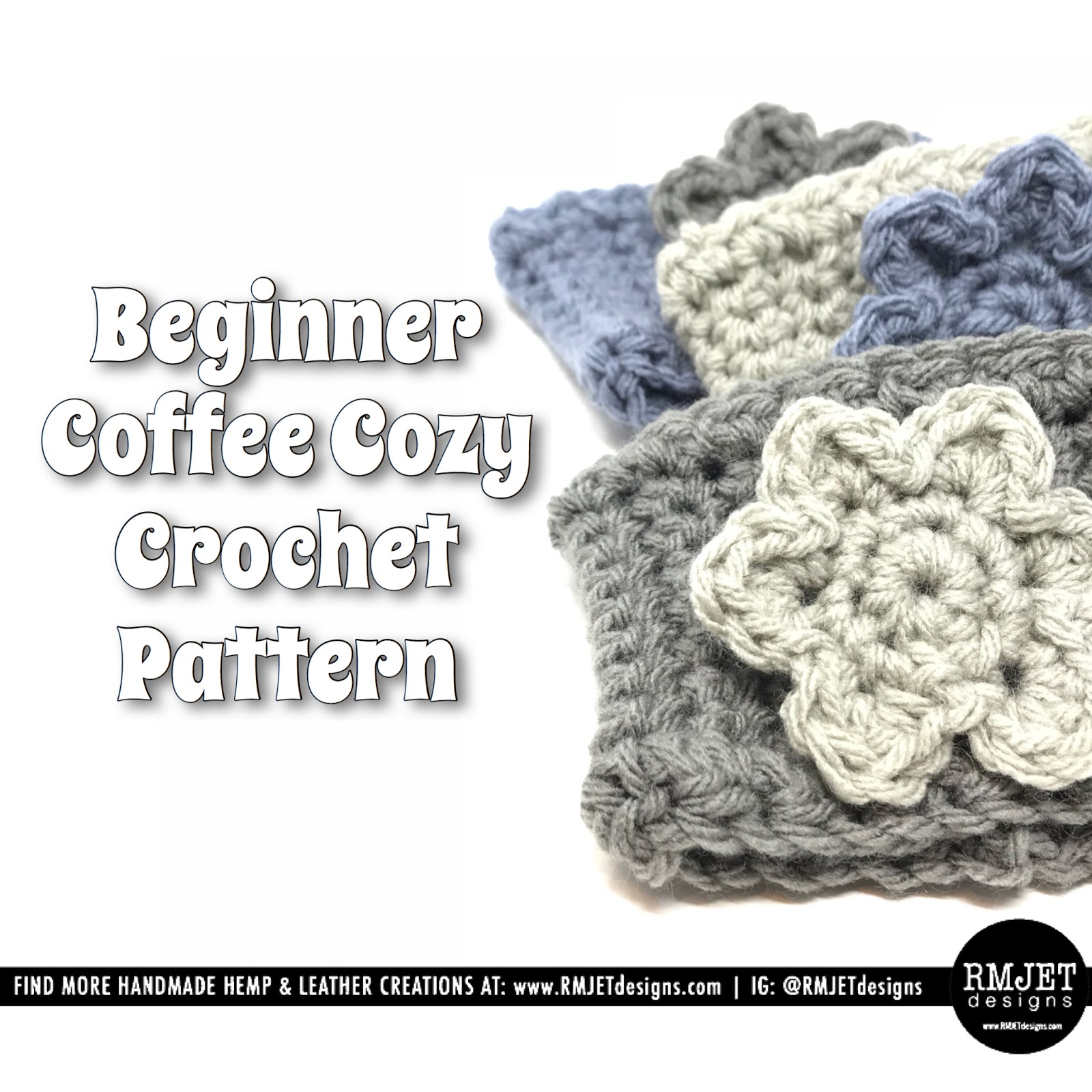 Flower Coffee Cozy FREE Crochet Pattern by RMJETdesigns