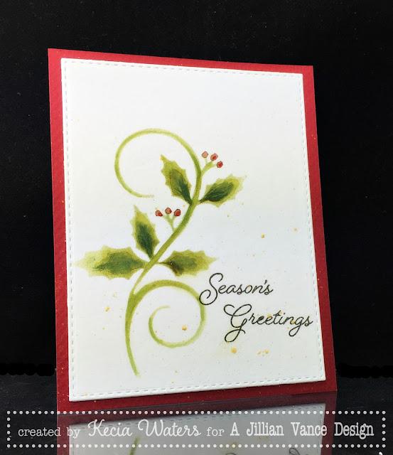AJVD, Kecia Waters, Distress Ink, watercoloring, holly, Christmas