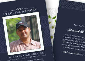navy blue elegant photo sympathy thank you card