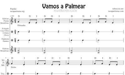 Vamos a Palmear Partitura de Xilófono, Metalófono, Flauta y Pequeña Percusión (Pandero, Pandereta, Claves, Triángulo. Caja China...)