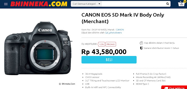 Harga, Spesifikasi, Review  Canon 5D Mark 4