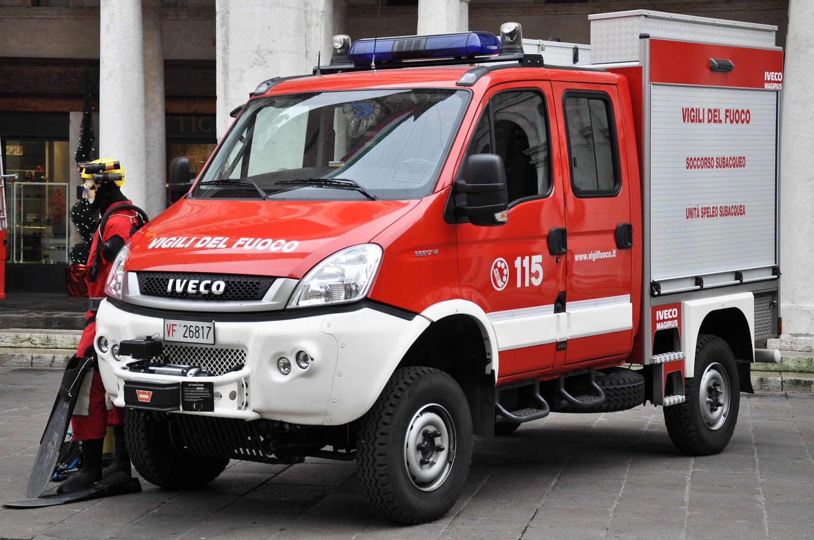 A fire engine for underwater rescue missions, Saint Barbara celebration, Vicenza, Veneto, Italy