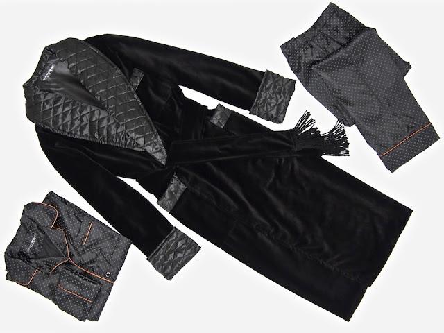Mens black velvet dressing gown warm quilted silk robe smoking jacket