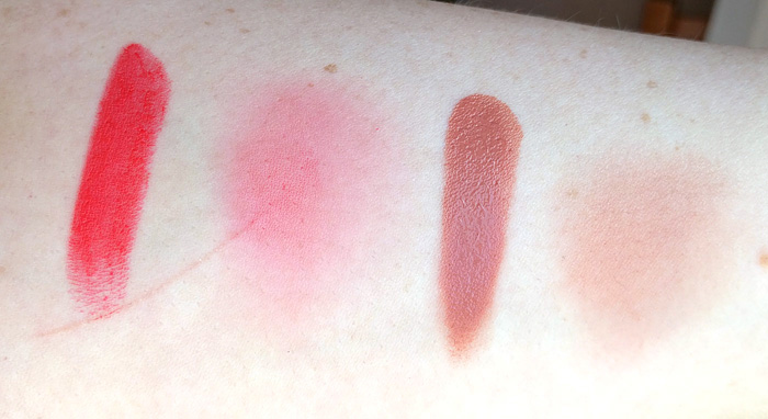 Swatches of Wet N Wild Silk Finish Lipstick in What's Up Doc? and NYX Cream Blush in Tea Rose