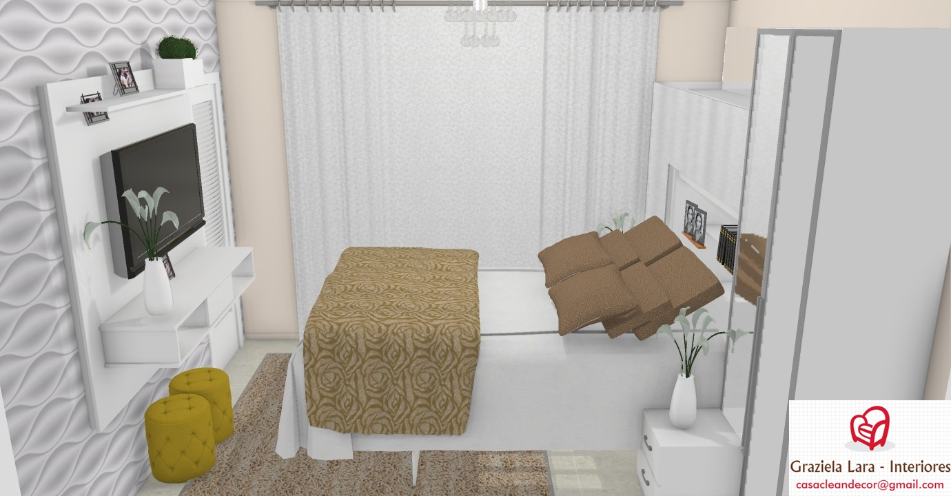 Construindo Minha Casa Clean Quarto De Casal Pequeno Com Arm Rio  ~ Quarto De Casal Com Cama Embutida