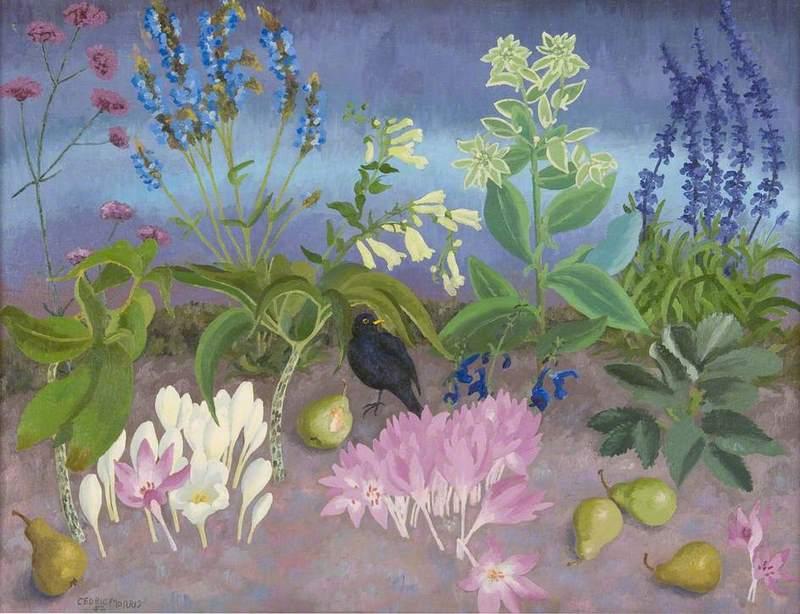 Blackbird and Flowers, 1952 Cedric Morris Pájaro negro y flores
