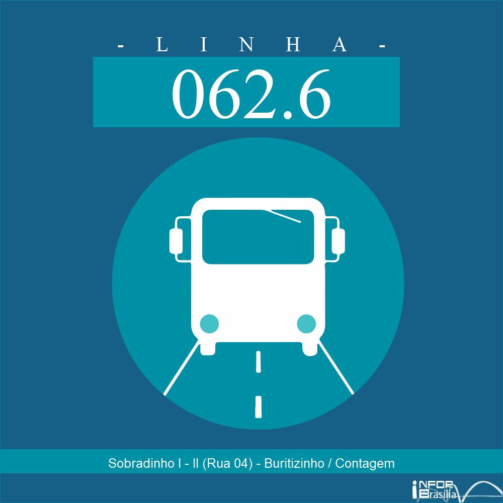 Horário de ônibus e itinerário 062.6 - Sobradinho I - II (Rua 04) - Buritizinho / Contagem