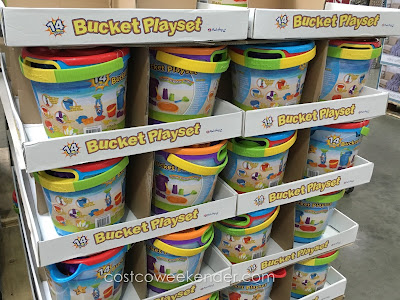 A day at the beach is not complete without the 14 Piece Bucket Playset Sand and Water Fun
