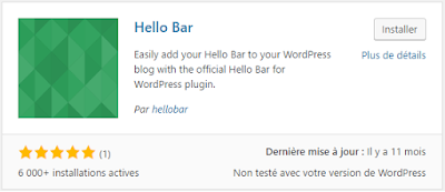Plugin Hello Bar pour blog WordPress
