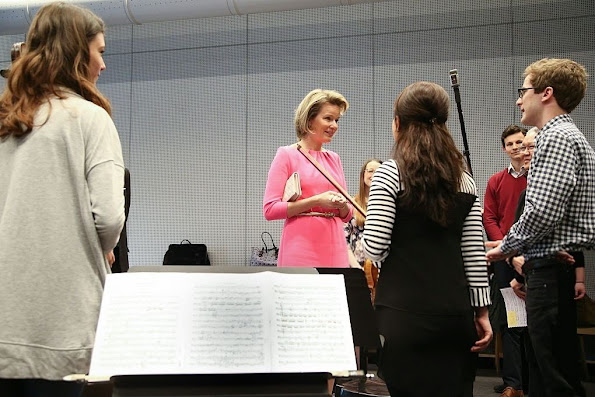 Queen Mathilde of Belgium visits the Higher Institute of Music and Pedagogy in Namur