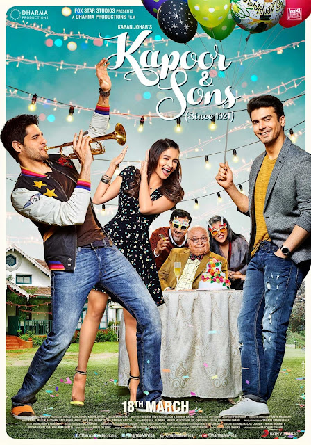 Kapoor & Sons, Movie Poster, Alia Bhatt, Fawad Khan, Sidharth Kapoor