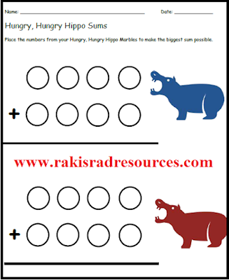 Free resources - hungry, hungry hippos sums sheet to make your math center more engaging - from Raki's Rad Resources.