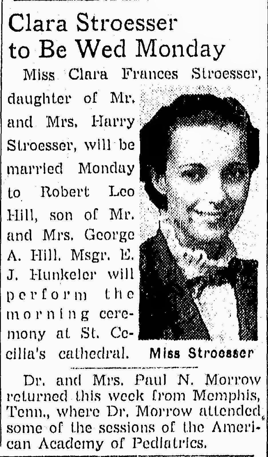 The Heritage Huntress: Wedding Wednesday: Clara STROESSER