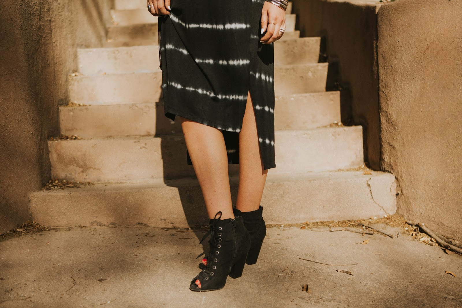 Lace Up Booties, Tie Dye Dress, Evie J