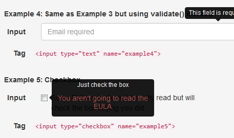 Bootstrap Tooltip As a jQueryb Validation Plugin - Top